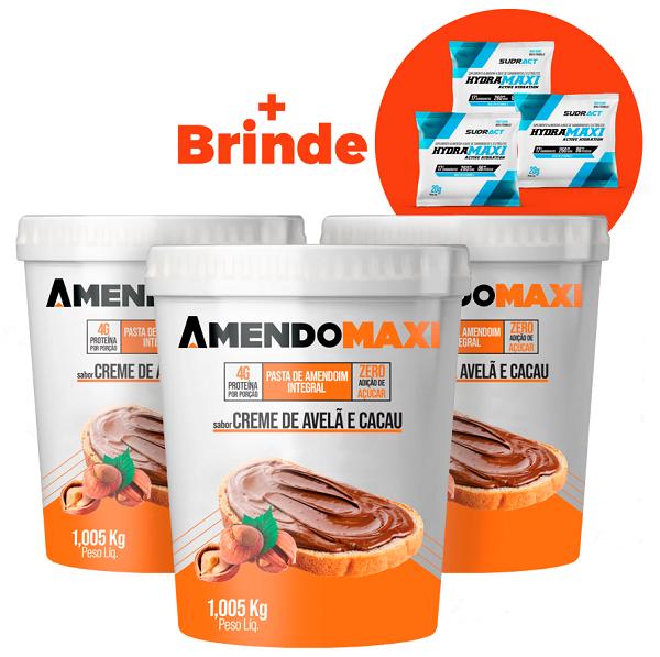 Combo 3 Pasta de Amendoim Creme de Avelã e Cacau 1kg  AmendoMaxi + 3 Sachês Hydramaxi 20g Brinde