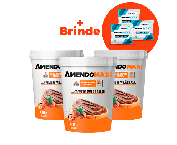 Combo 3 Pasta de Amendoim  Creme de Avelã e Cacau 500g  AmendoMaxi + 3 Sachês Hydramaxi 20g Brinde