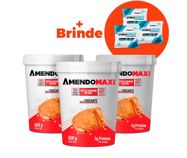 Combo 3 Pasta de Amendoim Crocante 500g  AmendoMaxi + 3 Sachês Hydramaxi 20g Brinde