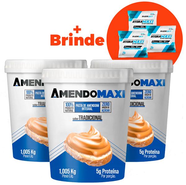 Combo 3 Pasta de Amendoim Tradicional 1kg  AmendoMaxi + 3 Sachês Hydramaxi 20g Brinde