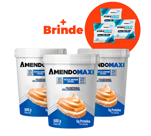 Combo 3 Pasta de Amendoim Tradicional 500g  AmendoMaxi + 3 Sachês Hydramaxi 20g Brinde