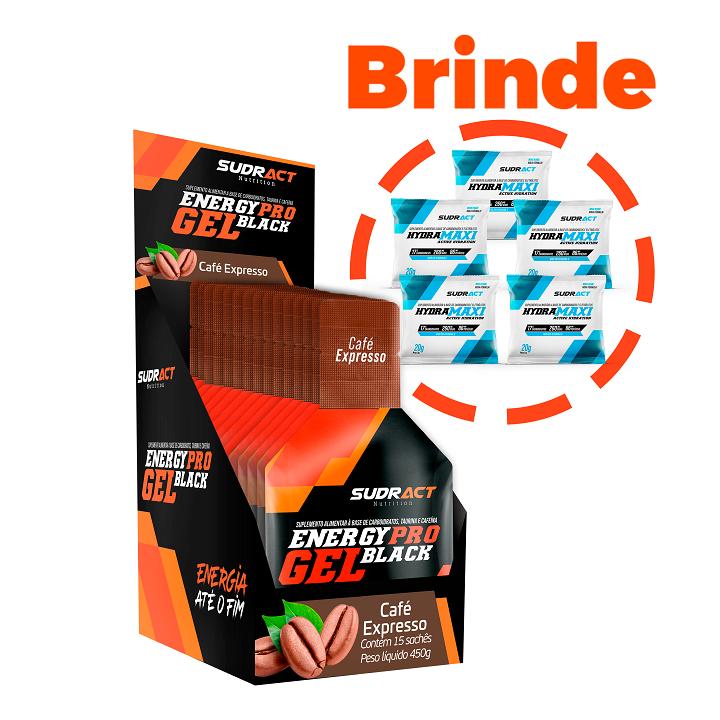 Energy Pro Gel Black - Sudract  Com Taurina e cafeína  15 sachês + 5 Sachês Hydramaxi 20g Grátis