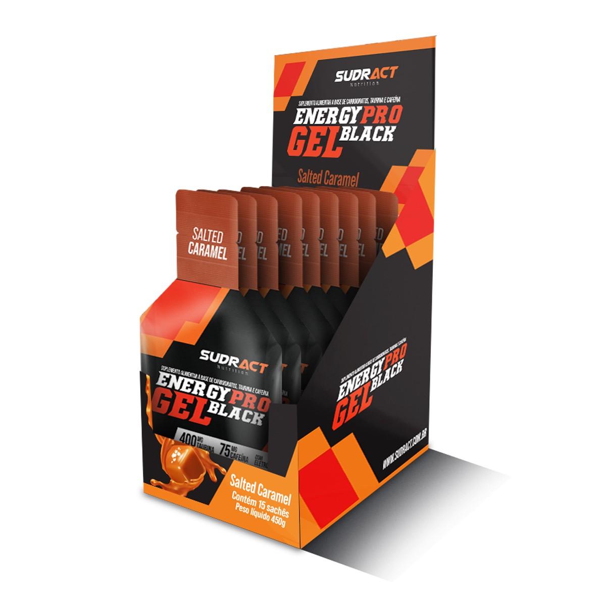 Energy Pro Gel Black - Sudract • Com Taurina e cafeína • 15 sachês