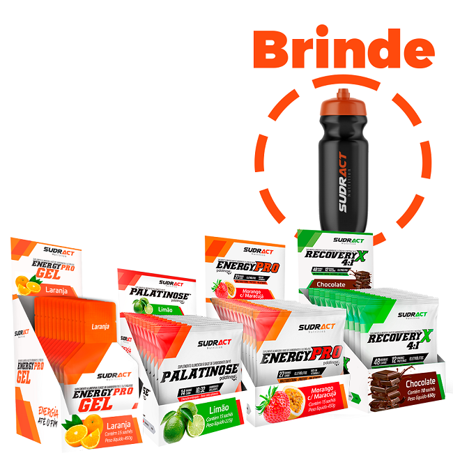 kit 1 Display Energy Pro + 1 Display Recovery + 1 Display Energy Pro Gel + 1 Display Palatinose + 1 Squeeze de Brinde - Sudract Nutrition