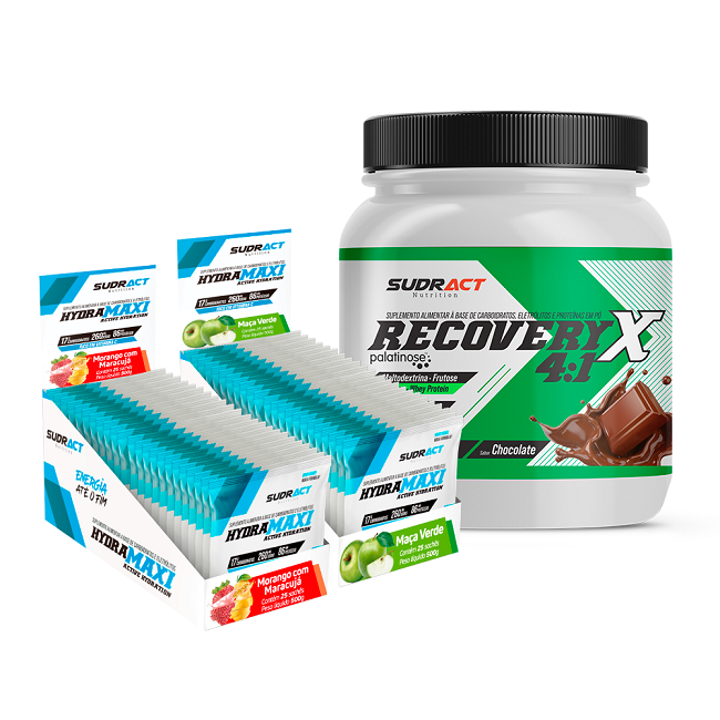 KIT 1 POTE RECOVERY X 4:1 975g + 2 DISPLAY HYDRAMAXI 25 SACHÊS - SUDRACT NUTRITION