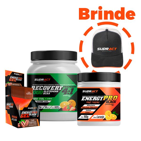 Kit Energy Pro Black + Energy Pro Gel Black + Recovery Premium - Sudract Nutrition + 1 Boné de Brinde
