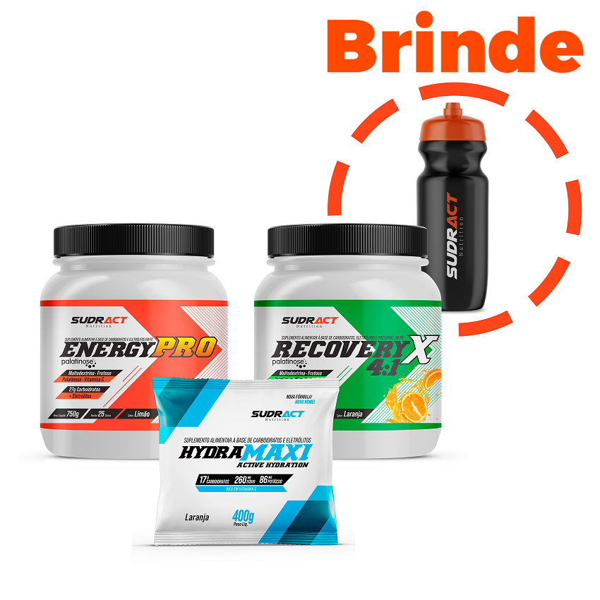 Kit Energy Pro Pote 750g + Recovery Pote 975g + Hydramaxi Sachê 400g + 1 Squeeze de Brinde