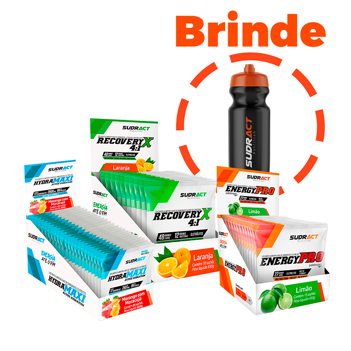 Kit Hydramaxi 25 unid. + Energy Pro 15 unid. + Recovery 10 unid. + 1 Squeeze de Brinde - Sudract Nutrition