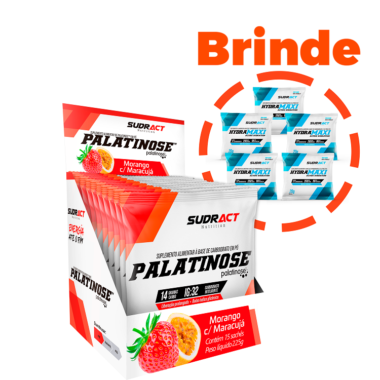 Palatinose 15 sachês de 15g - Sudract Nutrition + 5 Sachês Hydramaxi 20g Grátis