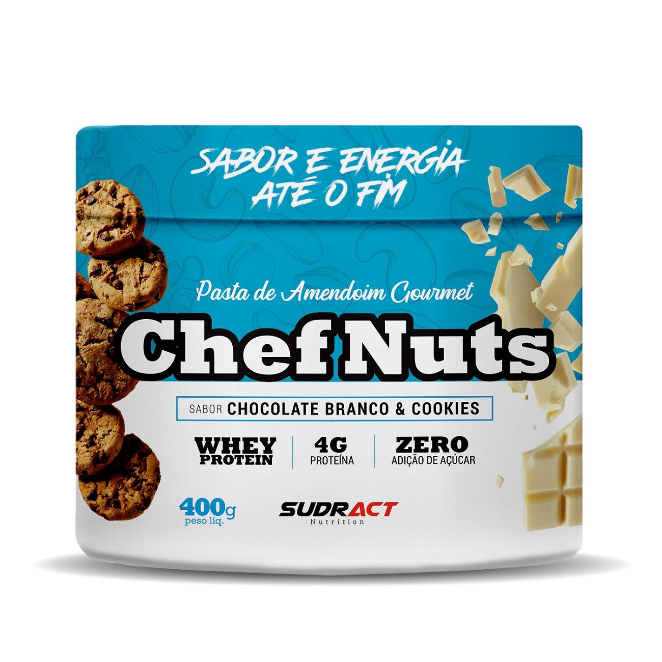 Pasta de Amendoim Gourmet Chef Nuts Chocolate Branco com Cookies com Whey Protein - Zero Açúcar - Sudract Nutrition