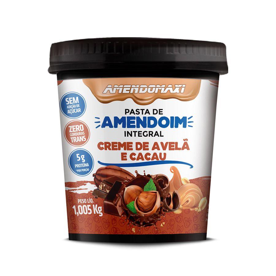 Pasta Integral de Amendoim Creme de Avelã e Cacau 1kg – AmendoMaxi