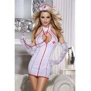 Fantasia Enfermeira Vestido Mini Com Calcinha Fio Dental