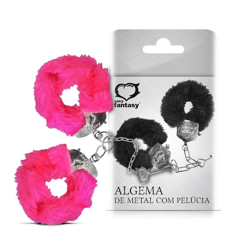 Algema feita de Metal com Pelúcia Rosa - Sexy Fantasy