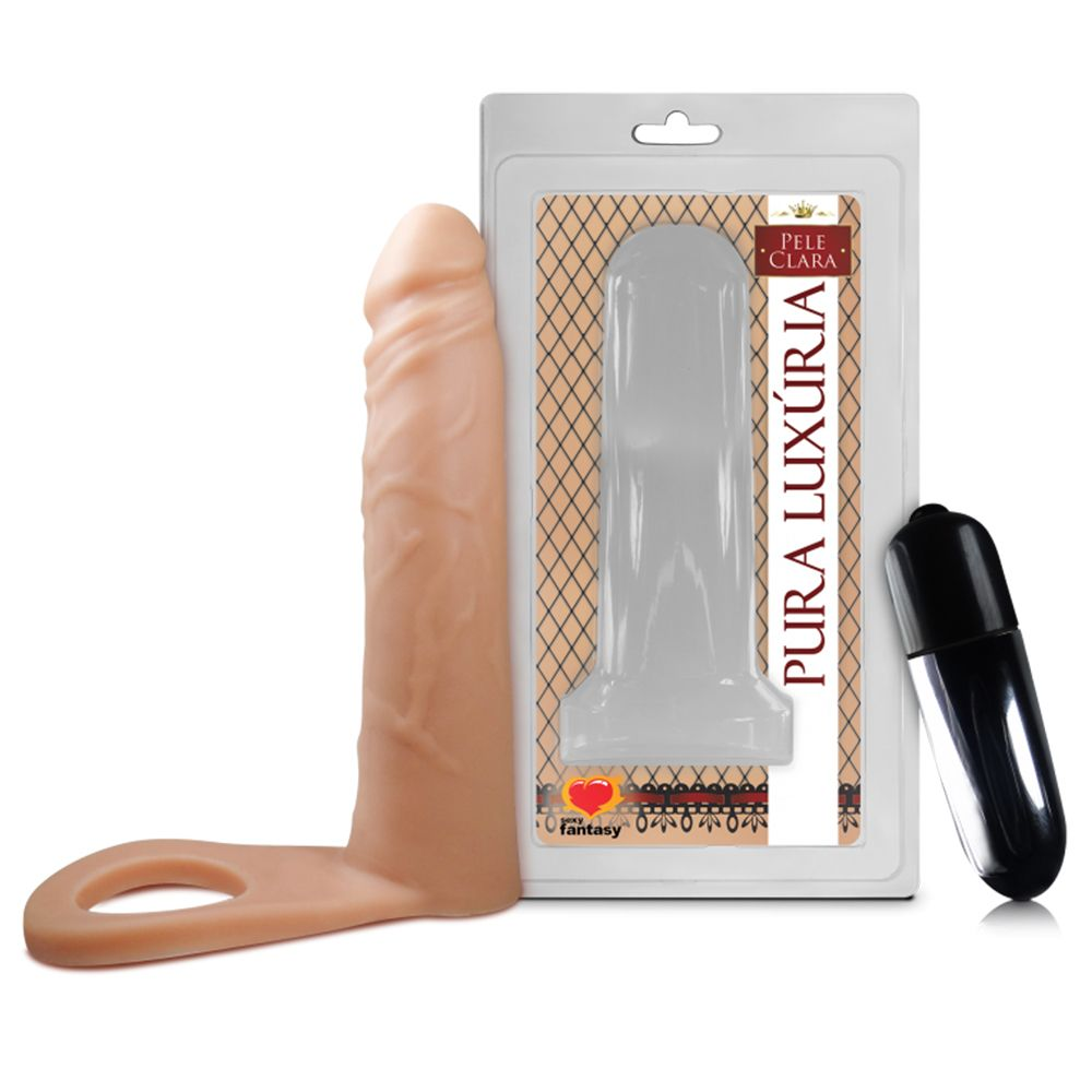 Anel peniano com prótese auxiliar e vibro 16 x 3,8cm