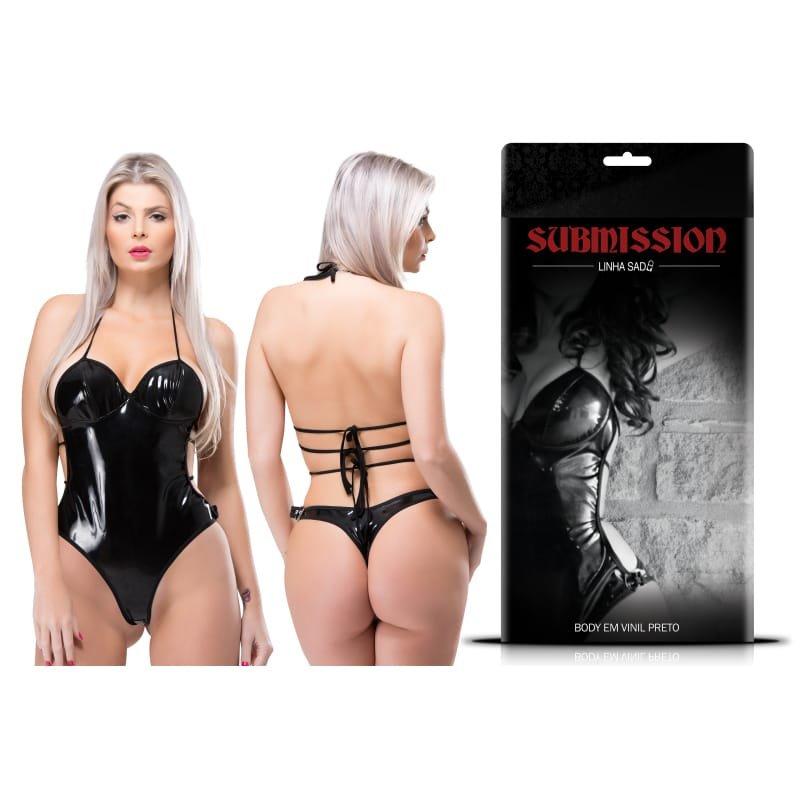 Body Vinil Submission Preto - Sexy Fantasy