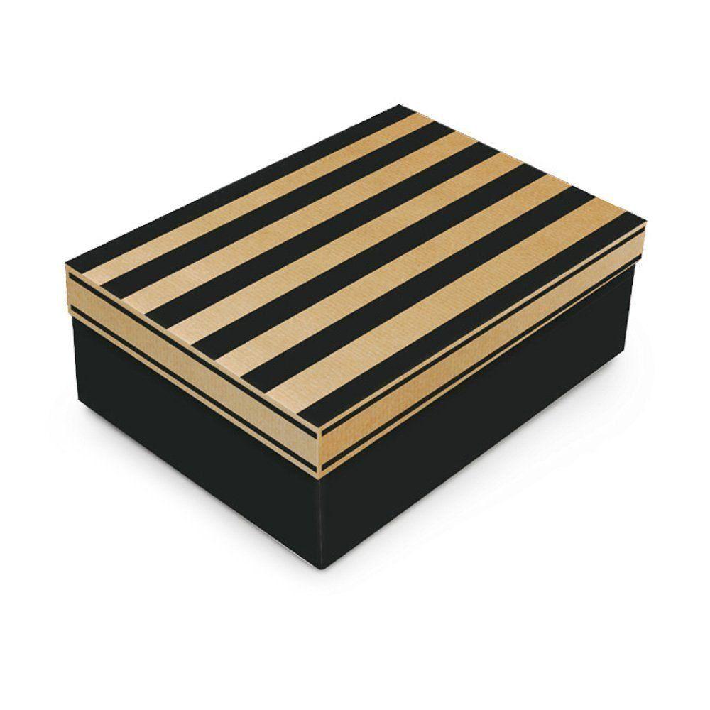 Caixa para presente Kraft Noah Preto com tampa P 24x18x8