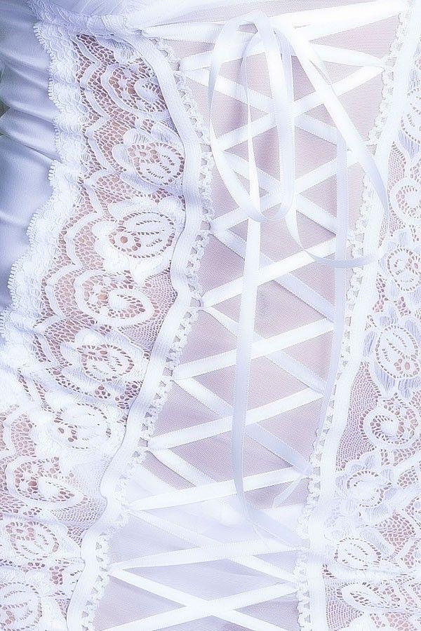 Camisola Sexy Branca em microfibra lateral em renda e bojo drapeado