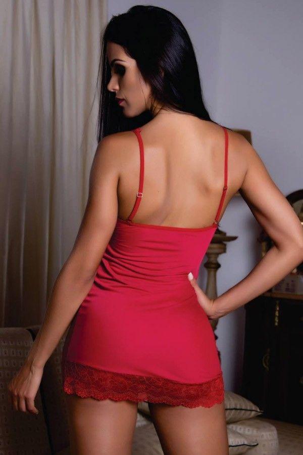 Camisola Vermelha sexy em liganete e renda