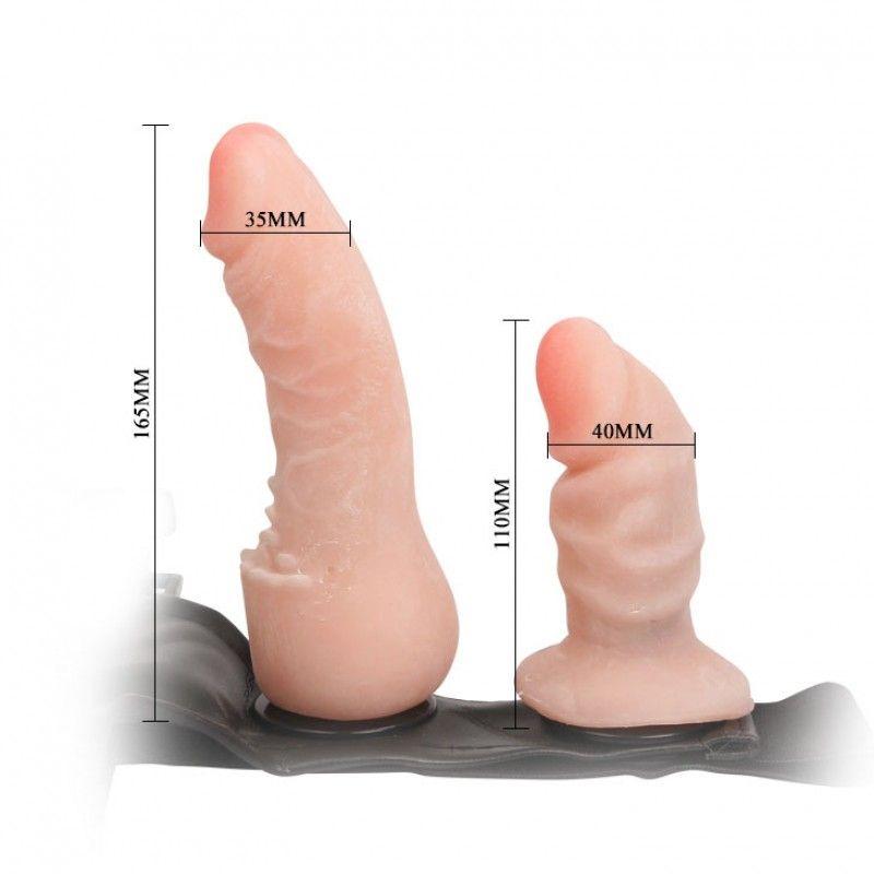 Cinta Peniana Com Pênis De 16 Cm E Plug Vaginal De 11 Cm Em Cyberskin