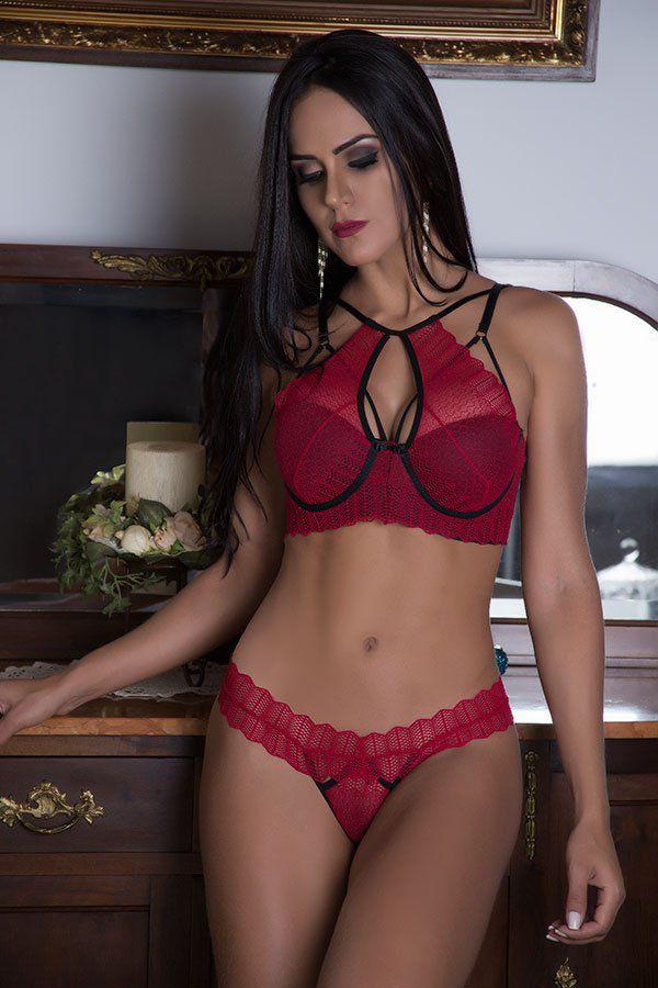 Conjunto de lingerie sexy Strappy em renda divino