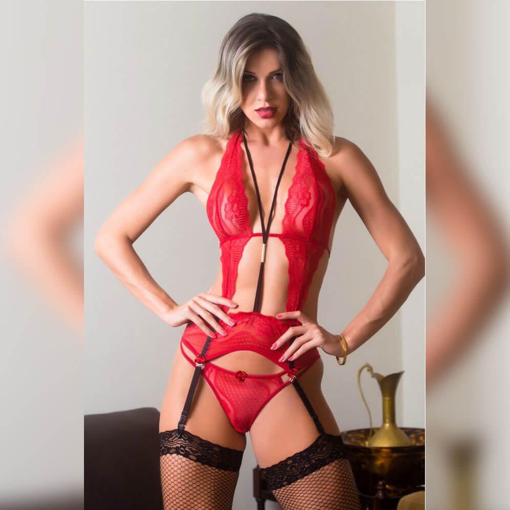 Fantasia Body Vermelho Sensual Fenix - Garota Veneno