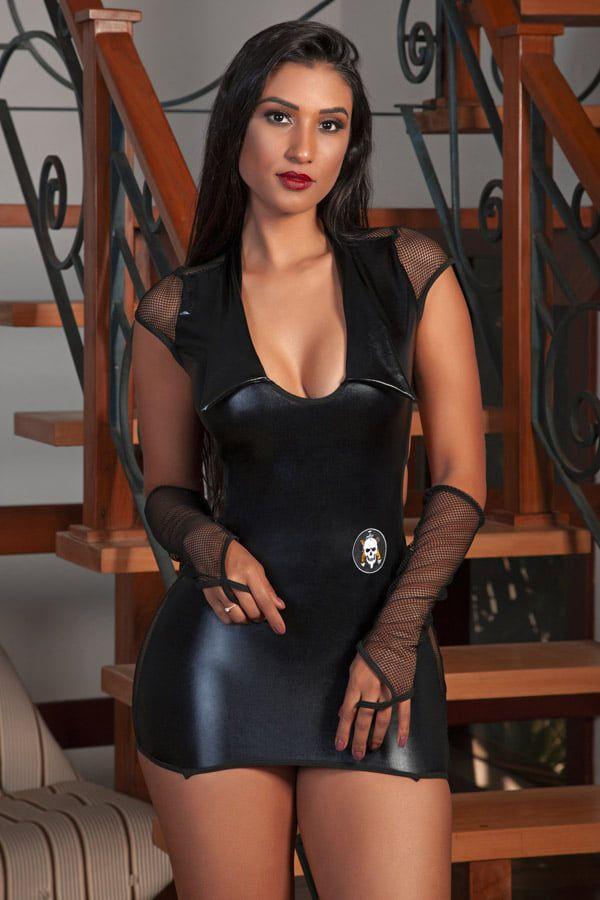 Fantasia Erótica - Vestido Policial BOPE em cirrê – Garota Veneno