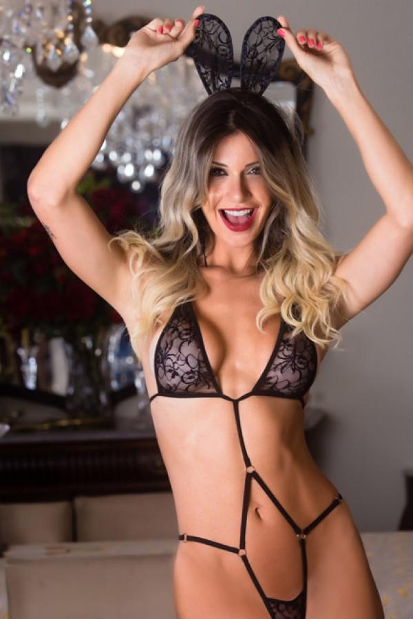 Fantasia feminina body coelhinha sensual - Garota veneno