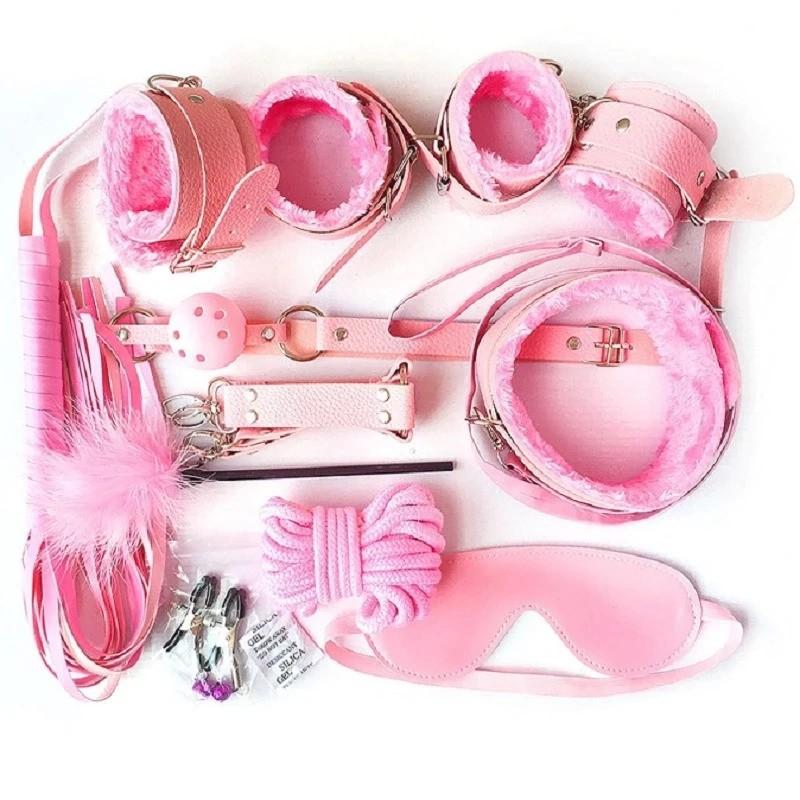 Kit BDSM em couro atraente completo rosa