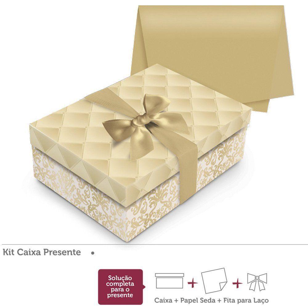 Kit presente Luxúria Ouro caixa retangular P 24x18x8