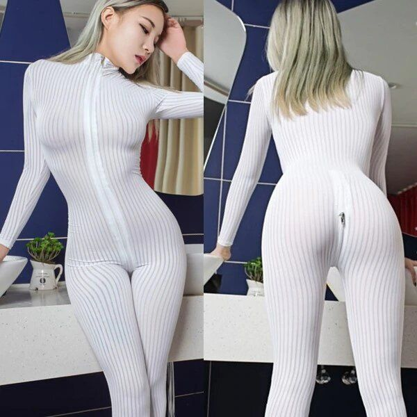 Macacão sensual Sheer Lisa Zipper