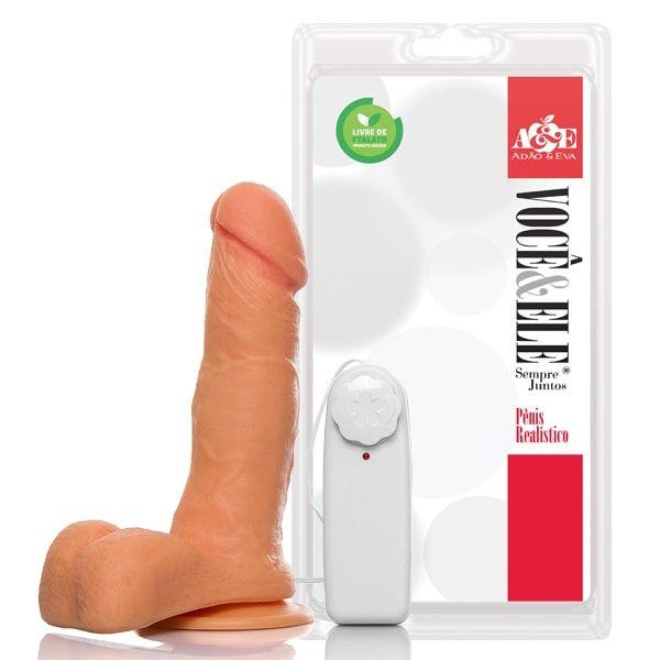 Pênis de borracha com escroto ventosa e vibro 16,5x4 cm pele