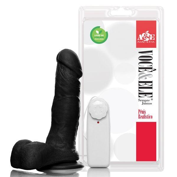 Pênis realístico com escroto com ventosa e vibro 16,5x4 cm - Preto