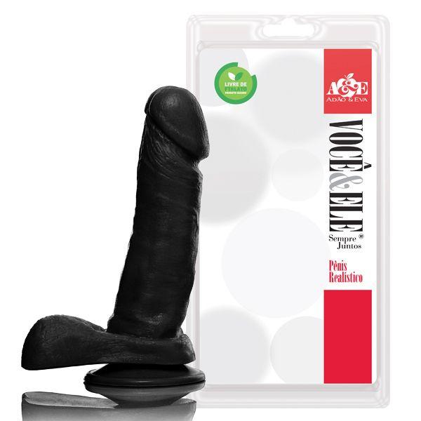 Pênis Realístico Com Escroto e Ventosa Preto - 16,5cm