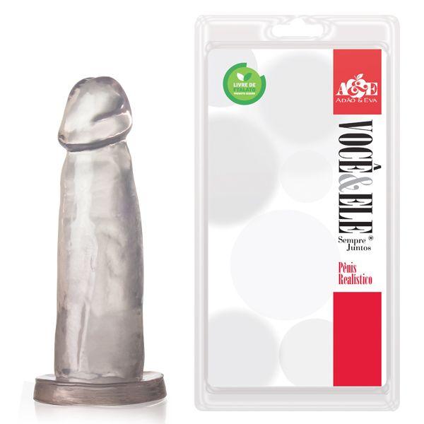 Pênis Realístico sem vibrador Translucido com 14,5x4 cm