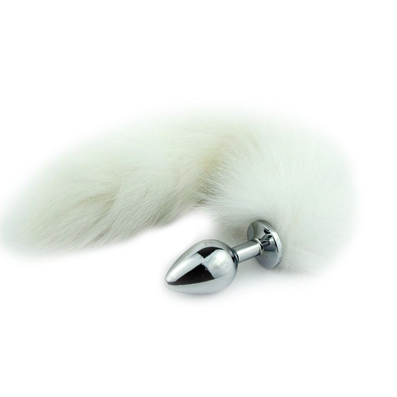 Plug Anal Jóia Metal Inox com Rabo Tail Branco 30 cm Plug 7,5 x 2,8 cm