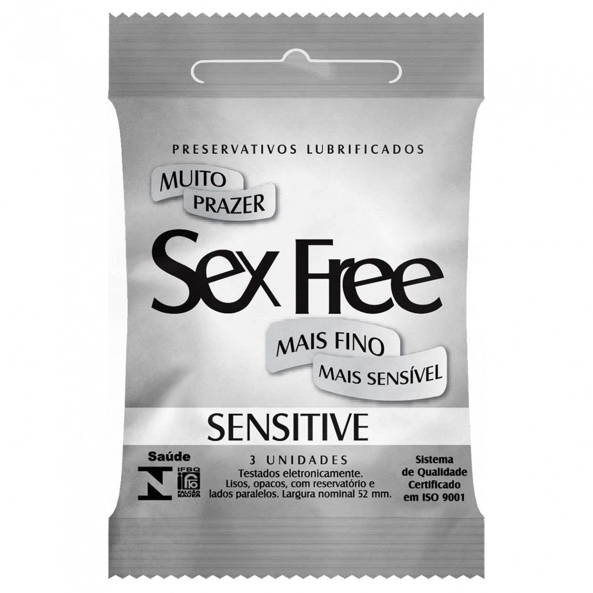 Preservativo Sex Free Sensitive + Fino + Sensibilidade 3 Unidades