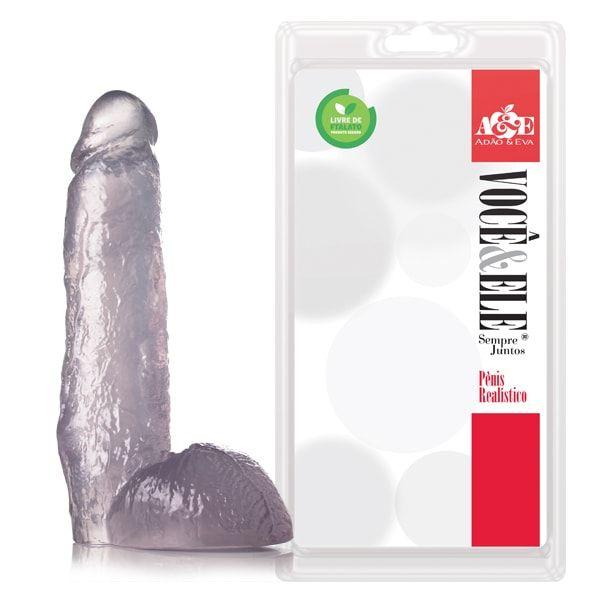 Pênis Realístico com escroto do Ator Pornô J.Holmes Translucido - 27cm
