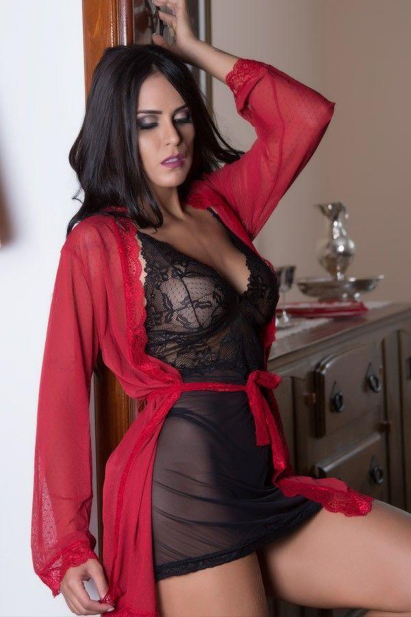 Robe sexy em tule poá vermelho