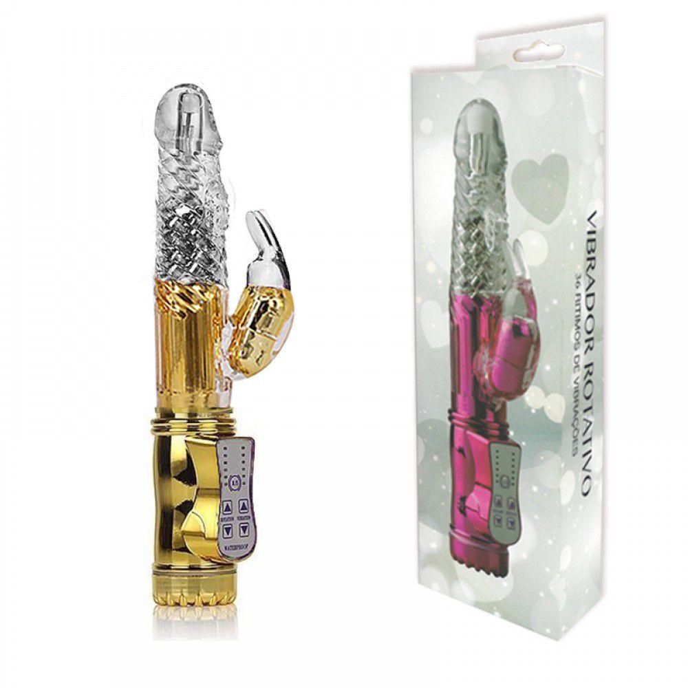 Vibrador rotativo com estimulador clitoriano dourado 22cm - You vibe