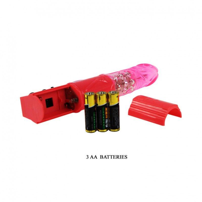 Vibrador Rotativo Com Pérolas Coelho Rosa 17,5 X 3 Cm