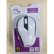 Mouse Multilaser Emborrachado Branco e Preto com Fio - MO224
