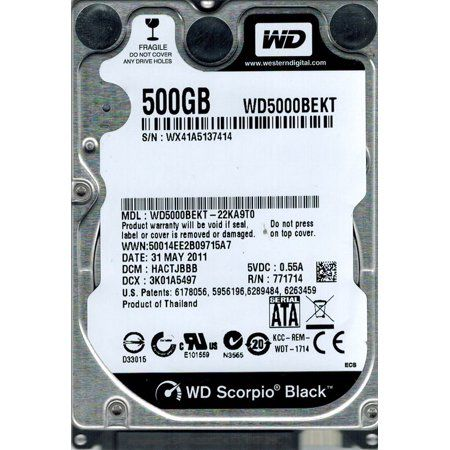 HD 2,5 WD Scorpio Black 500GB 9MM| 7200 RPM 16MB Cache SATA 3.0Gb
