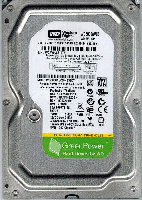 HD WD GreenPower 3,5 500GB - 7200Rpm