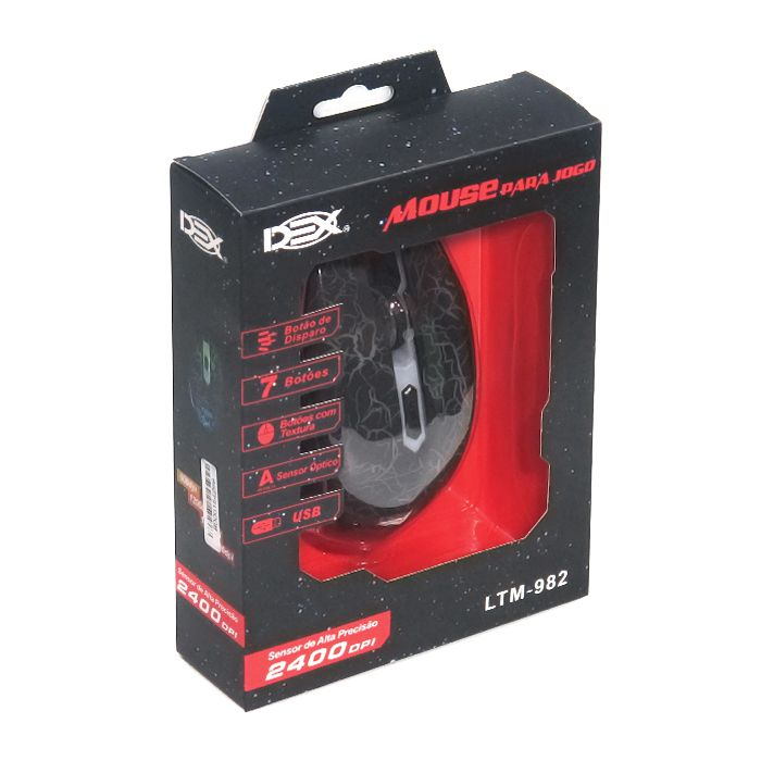 Mouse Gamer USB Com Fio DEX LTM-982 2400dpi