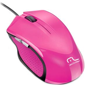 Mouse Multilaser Sem Fio 2.4Ghz Preto e Rosa USB