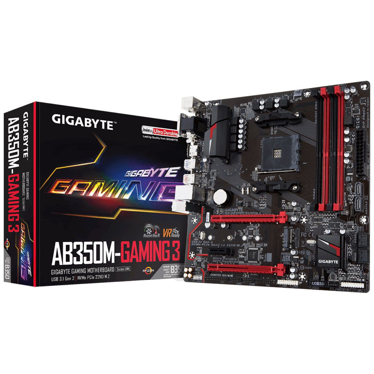 Placa Mae Gigabyte AB350M-GAMING 3 AMD AM4 DDR4