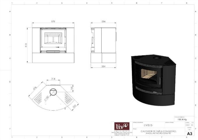 Calefator Angular de Dupla Combustão LIV315  - Decorgrill - A certeza do melhor para o seu espaço gourmet!