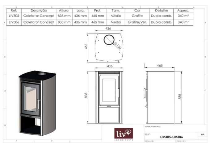 Calefator LIV305 de Dupla Combustão Concept  - Decorgrill - A certeza do melhor para o seu espaço gourmet!