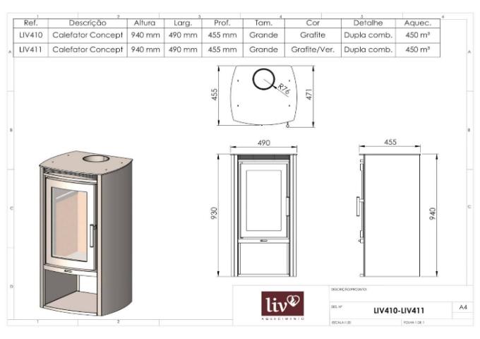 Calefator LIV411 de Dupla Combustão Concept  - Decorgrill - A certeza do melhor para o seu espaço gourmet!