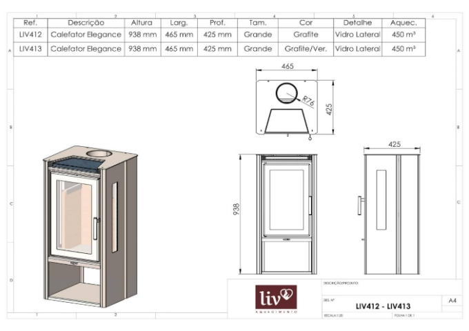 Calefator LIV412 de Dupla Combustão Elegance  - Decorgrill - A certeza do melhor para o seu espaço gourmet!